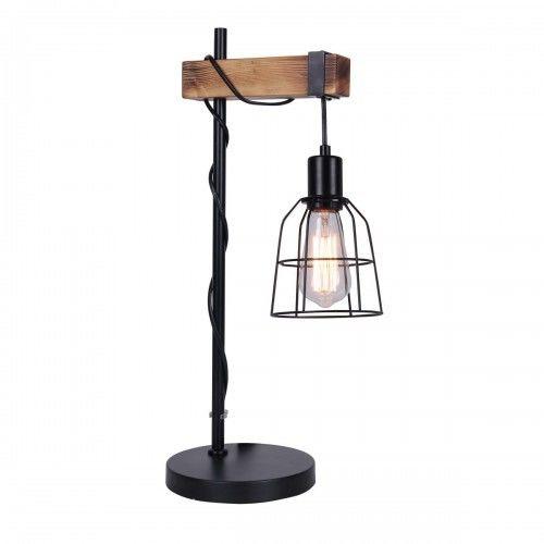 RABAT DO MINUS 15% Lampa nocna stołowa Ponte TB-4290-1 black Stop metali drewno Italux -