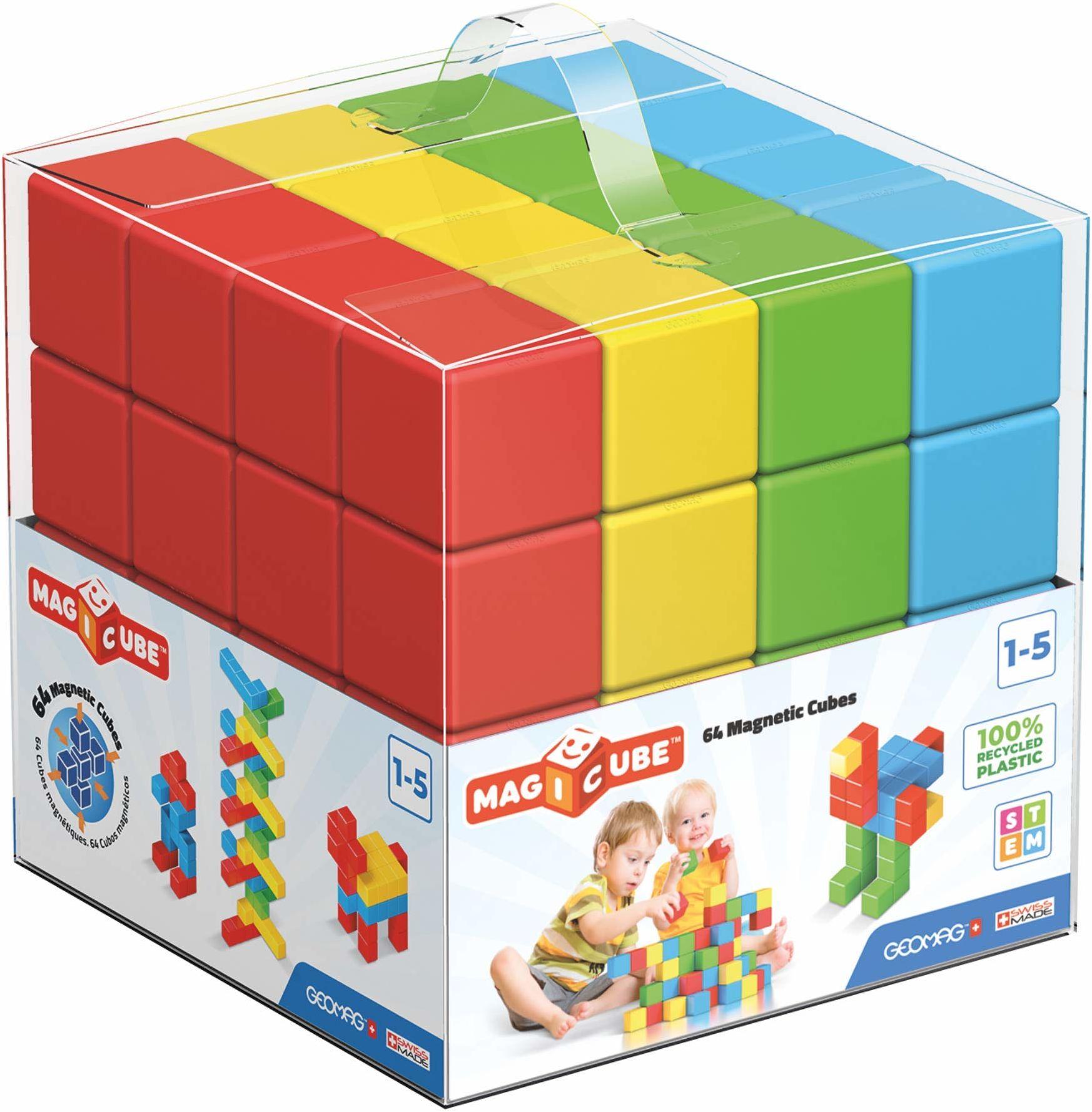 GEOMAG Magicube 57 zielony zabawki magnetyczne magnesy dla małych dzieci Zestaw kostek edukacyjnych do budowania edukacji i zabawy wczesnej Szwajcarskie 64 sztuki Wiek 1-5 lat