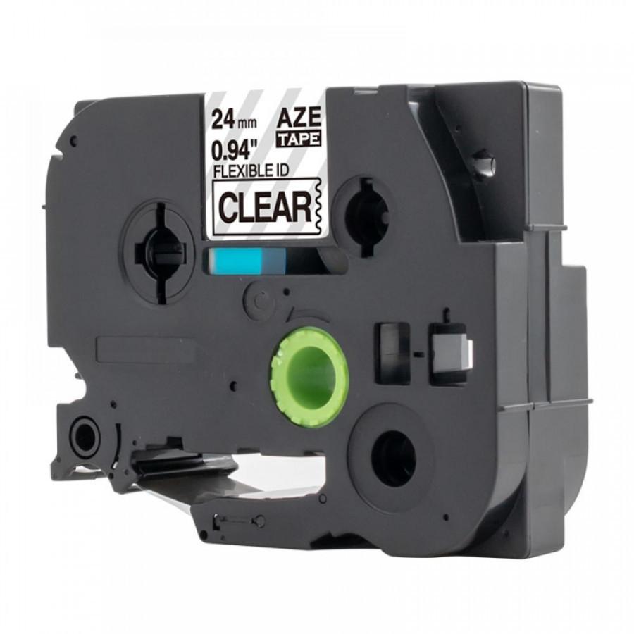 Taśma zamiennik Brother TZ-FX151 / TZe-FX151, 24mm x 8m, flexi, czarny druk / przezroczysty podkład