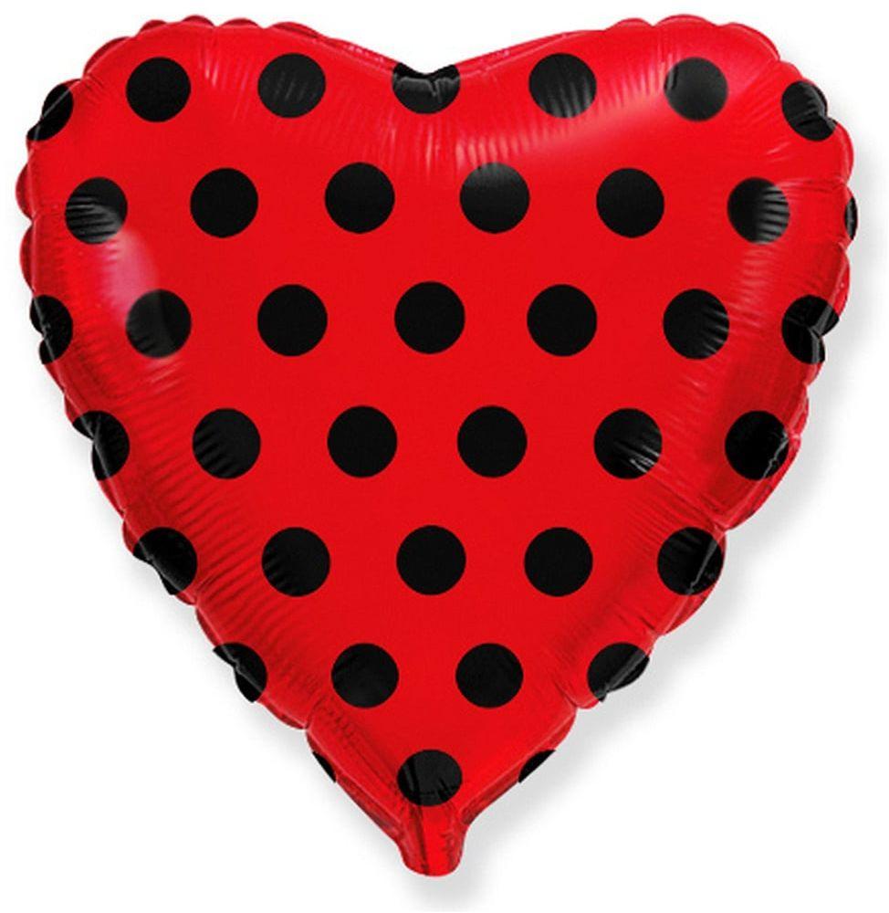 Balon foliowy serce czerwone w grochy - 46 cm - 1 szt.