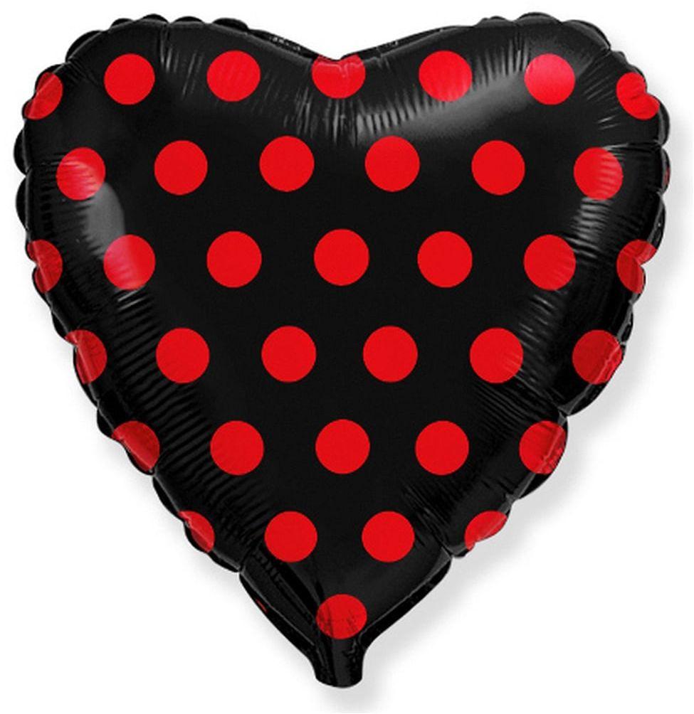 Balon foliowy serce czarne w grochy - 46 cm - 1 szt.