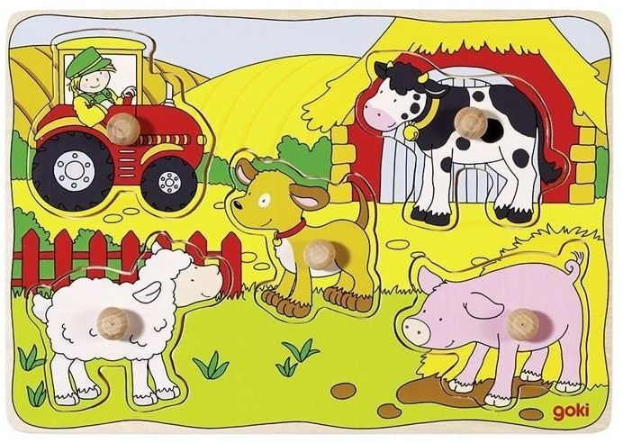 Na farmie - układanka drewniana, 57589-goki, układanki dla dzieci