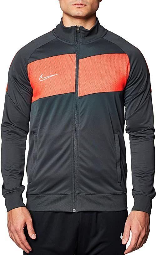 Nike Męska kurtka z dzianiny Academy Pro, antracytowa/jasna szkarłatna/biała, mała