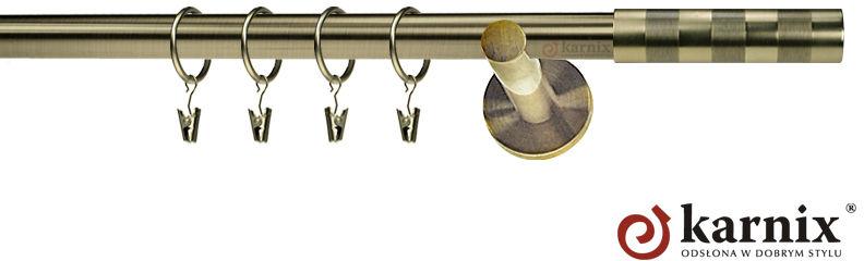 Karnisze nowoczesne NEO pojedynczy 19mm Etiuda antyk mosiądz