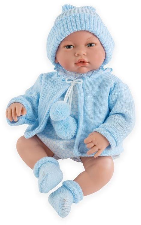 Lalka bobas Samuel w niebieskim sweterku - 36 cm