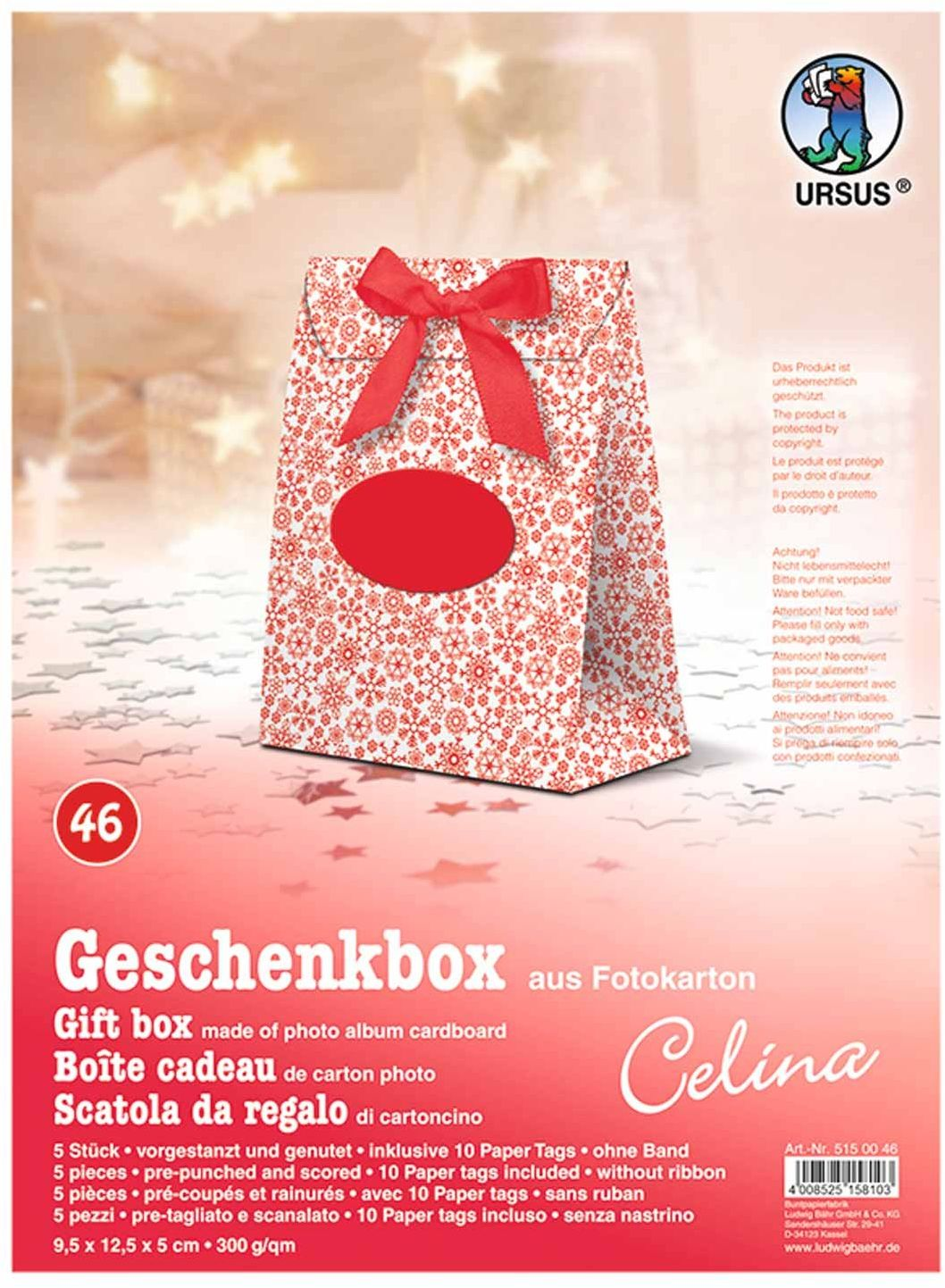 Ursus 5150046  pudełko prezentowe Celina, 5 sztuk, śnieg czerwony