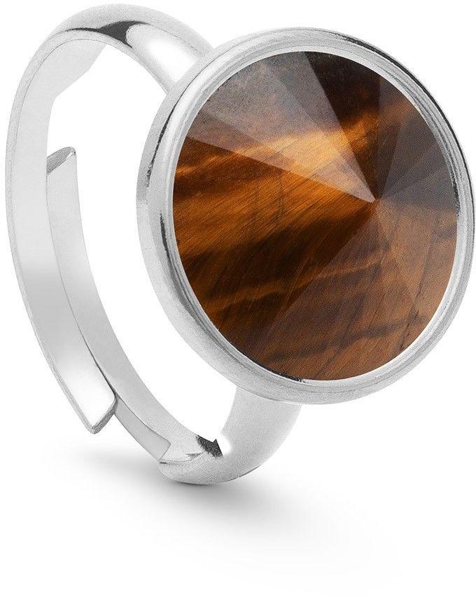 Srebrny pierścionek z naturalnym kamieniem - ciemnym, srebro 925 : Kamienie naturalne - kolor - tygrysie oko, ROZMIAR PIERŚCIONKA - Uniwersalny - (min. 11 - 16,00 MM / max. 18 - 18,33 MM), Srebro - ko
