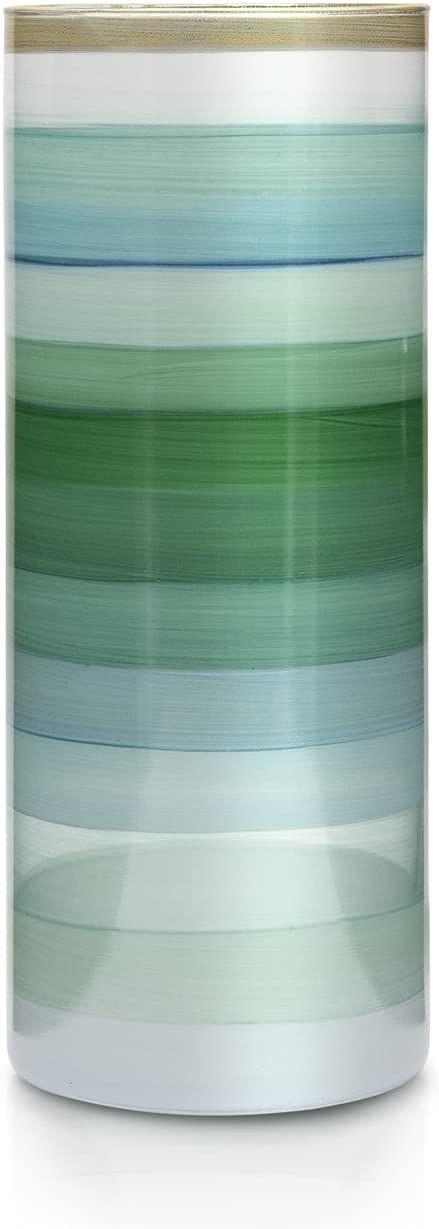 Angela Neue Wiener Werkstätte Wazon cylindryczny miętowy szklany wazon ręcznie malowany, pozłacany, szkło, jasnozielony, 11 cm
