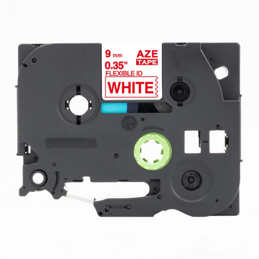 Taśma zamiennik Brother TZ-FX222 / TZe-FX222, 9mm x 8m, flexi, czerwony druk / biały podkład