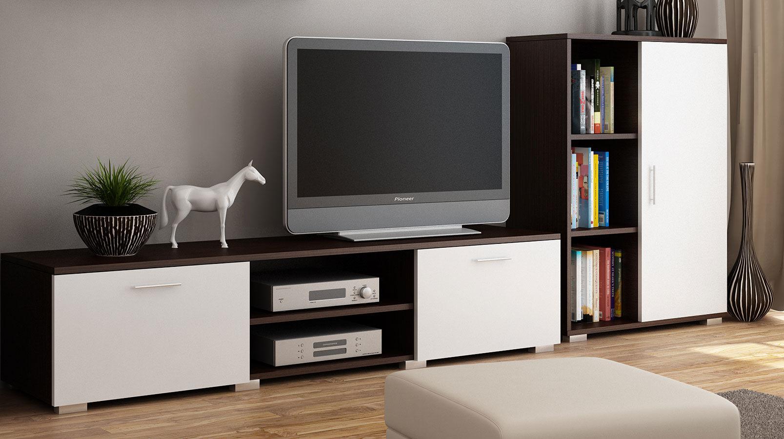 Szafka RTV Pixelo - biała + wenge
