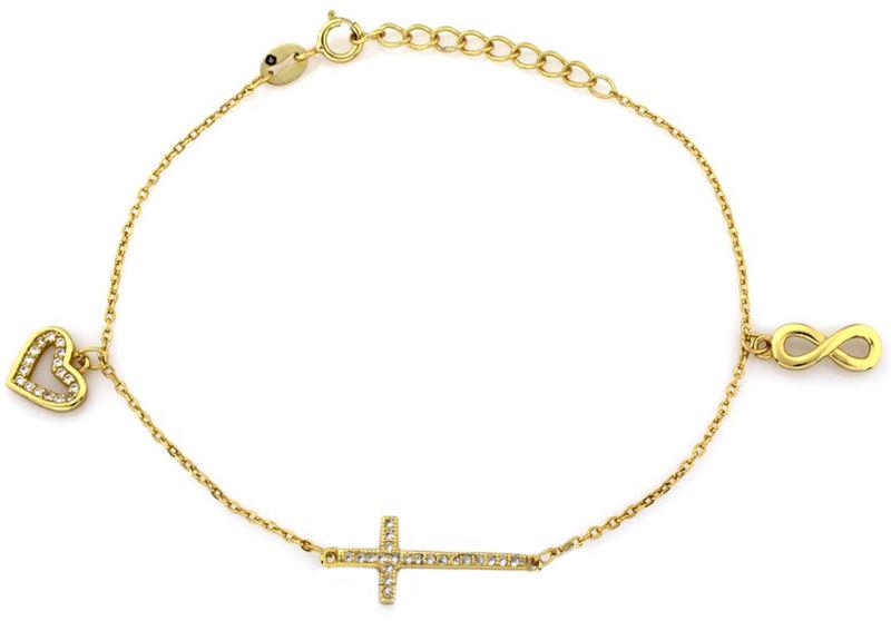 Srebrna bransoletka damska 925 krzyżyk cyrkonie 2 g
