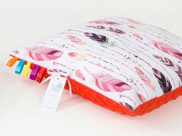 MAMO-TATO Poduszka Minky dwustronna 40x40 Piórka burgund / czerwona pomarańcza