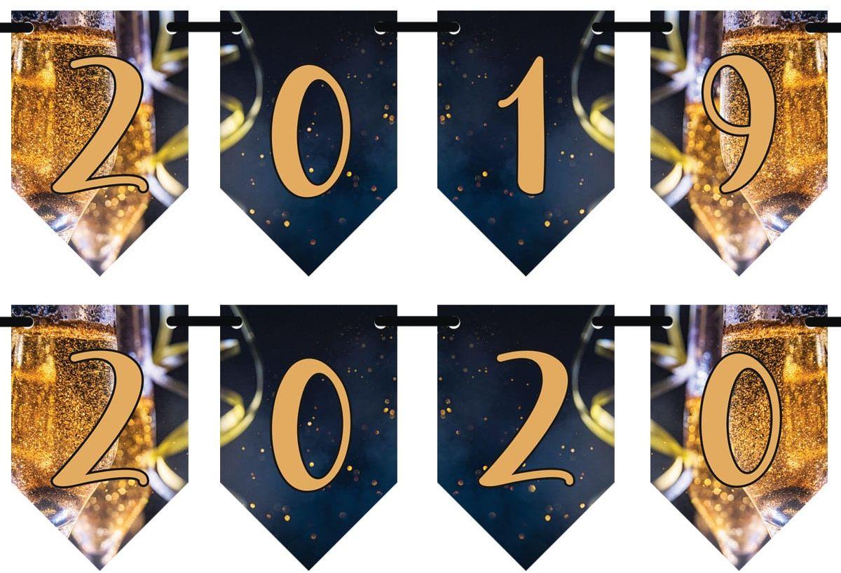 Girlanda baner flagi 2019-2020 na Sylwestra - 3 m