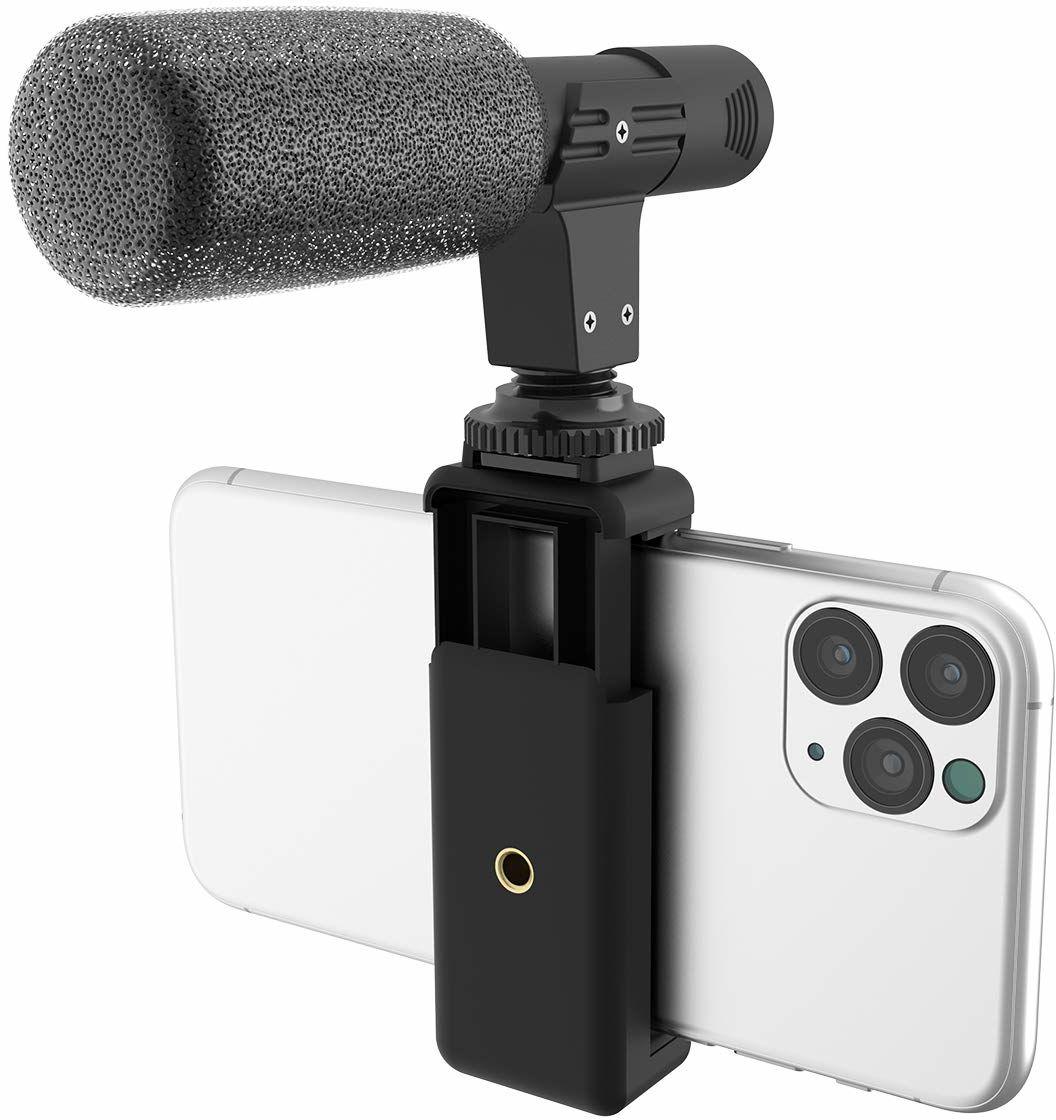 DigiPower Uniwersalny mikrofon Shotgun z uchwytem na telefon komórkowy, mikrofonem kierunkowym, kompatybilny ze smartfonami, lustrzankami DSLR i kamerami sportowymi, DP-M25