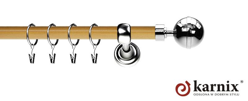 Karnisz Metalowy Prestige pojedynczy 19mm Kula Elegant INOX - pinia