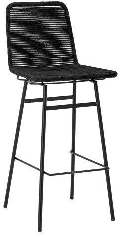 Hoker z siedziskiem z czarnej plecionki