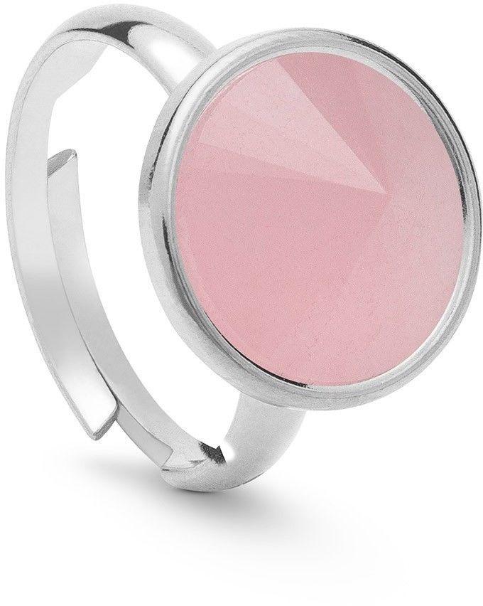 Srebrny pierścionek z kwarcem, srebro 925 : Kamienie naturalne - kolor - kwarc różowy, ROZMIAR PIERŚCIONKA - Uniwersalny - (min. 11 - 16,00 MM / max. 18 - 18,33 MM), Srebro - kolor pokrycia - Pokrycie