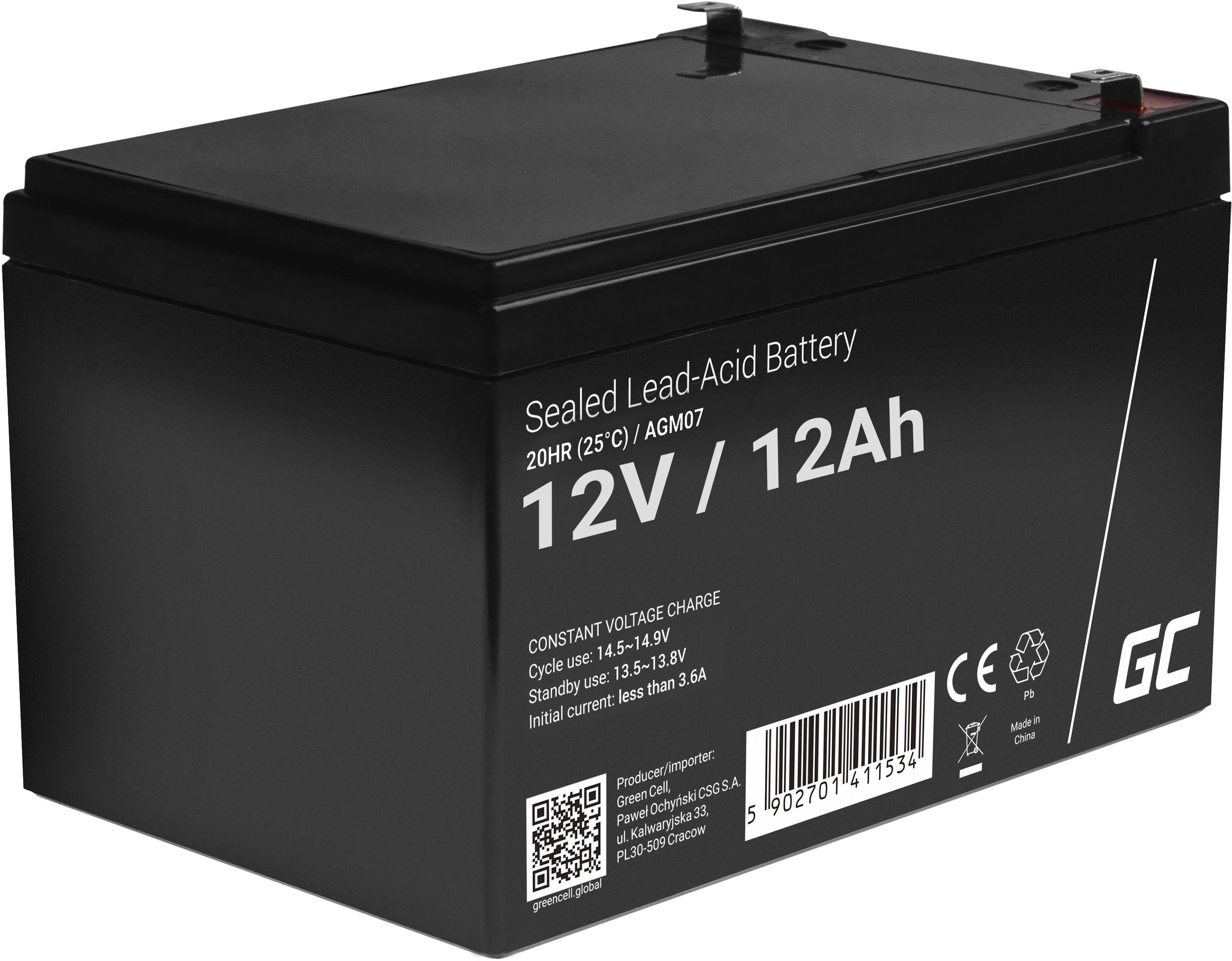 Green Cell AGM VRLA 12V 12Ah bezobsługowy akumulator do systemu alarmowego kasy fiskalnej zabawki