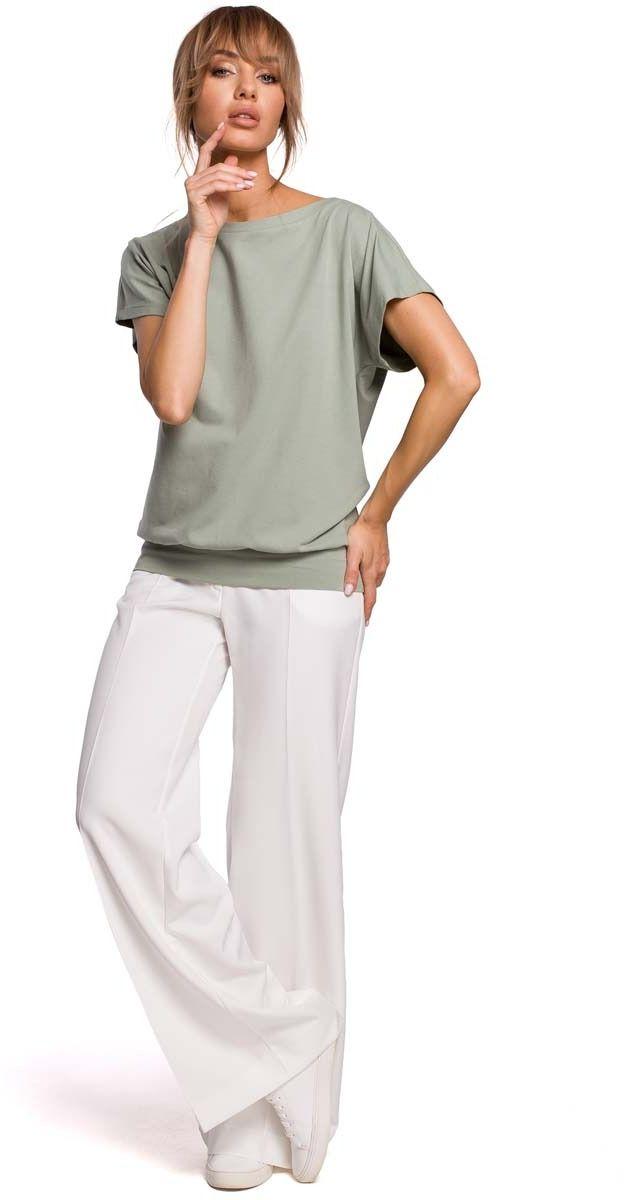 Dzianinowa bluzka z kopertowym tyłem - pistacjowa
