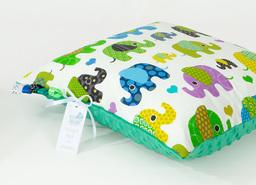 MAMO-TATO Poduszka Minky dwustronna 40x40 Słoniaki zielone / ciemna zieleń