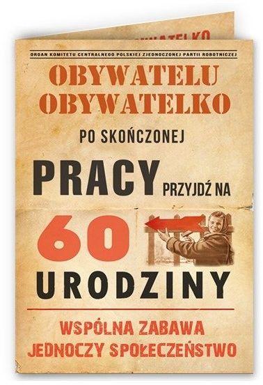 Zaproszenie na 60 urodziny PRL z kopertą 1szt. zx6814