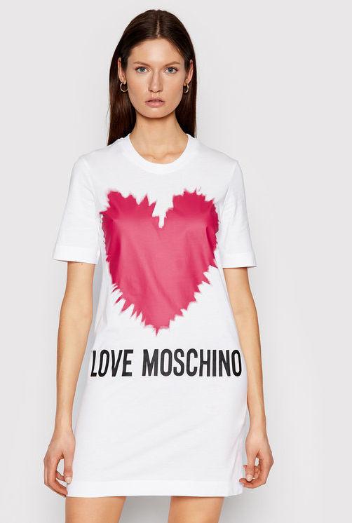 LOVE MOSCHINO Sukienka codzienna W5A0221M 3876 Biały Regular Fit