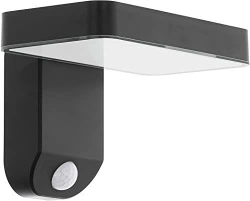 EGLO Lampa zewnętrzna LED Pastion, lampa zewnętrzna z czujnikiem ruchu, solarna lampa ścienna z tworzywa sztucznego w kolorze czarnym, ciepła biel, możliwość montażu w narożniku