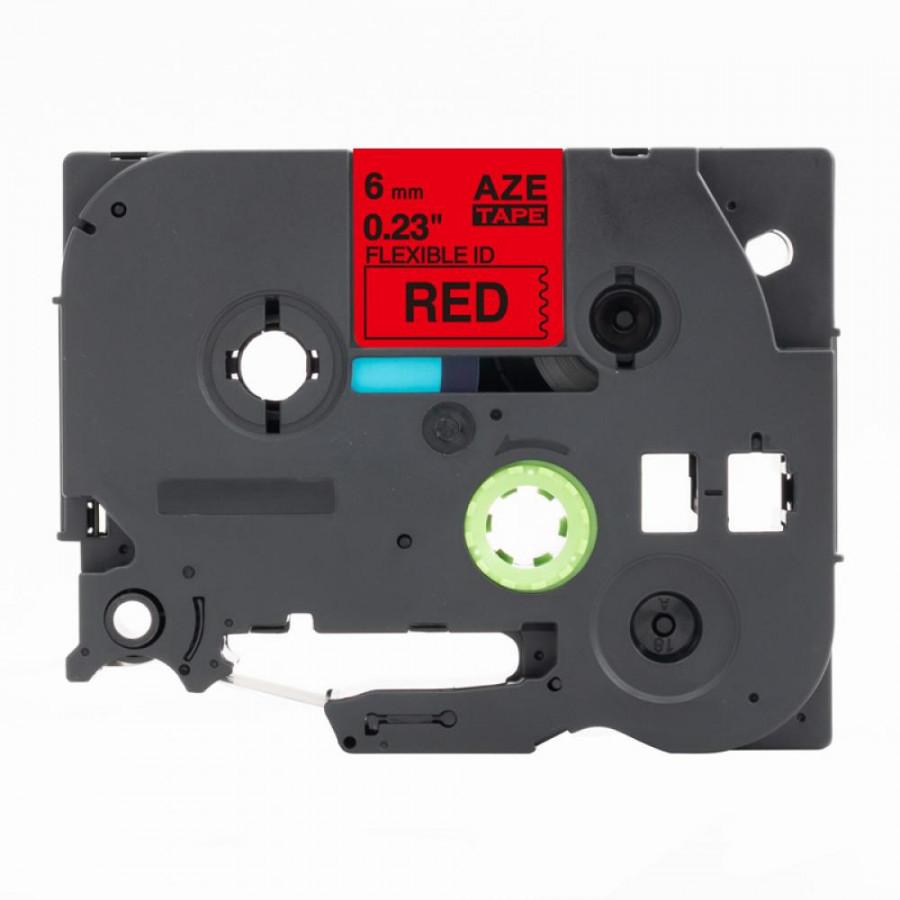 Taśma zamiennik Brother TZ-FX411 / TZe-FX411, 6mm x 8m, flexi, czarny druk / czerwony podkład