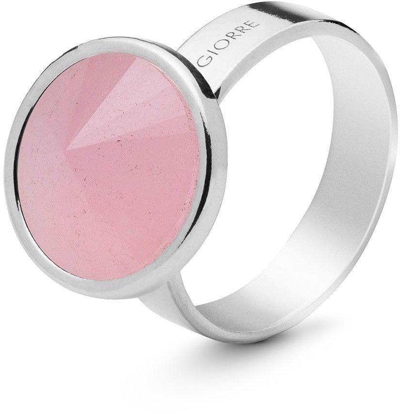 Srebrny pierścionek z kwarcem, srebro 925 : Kamienie naturalne - kolor - kwarc różowy, ROZMIAR PIERŚCIONKA - 17 UK:R 18,00 MM, Srebro - kolor pokrycia - Pokrycie platyną