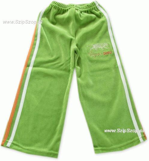 Spodnie dresowe welurowe dla dzieci z lampasami groszek Tiger One