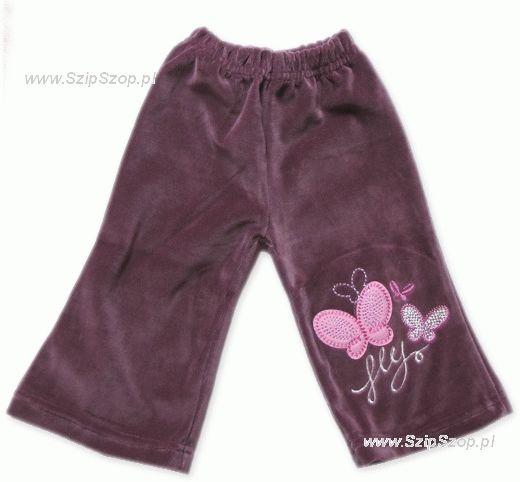 Spodnie welurowe dziewczęce Motylki śliwka