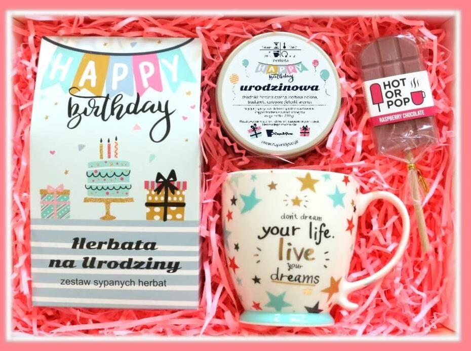 Zestaw prezentowy na urodziny URODZINOWE MARZENIE. Zestaw 10 herbat 10 x 5/8g różnego rodzaju i smaku, herbata urodzinowa 200g, kolorowy kubek i lizak biała czekolada z maliną