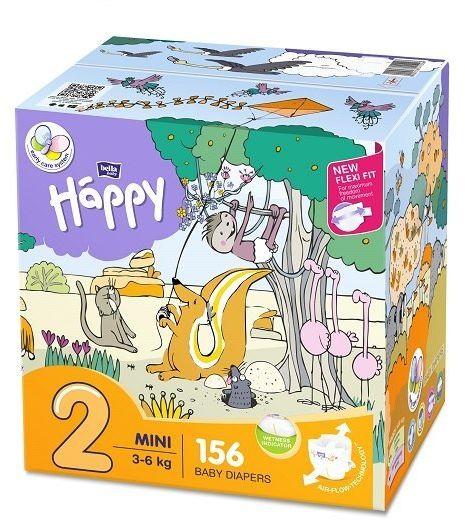 Bella Happy Rozmiar 2 Box, 156 pieluszek, 3-6 kg