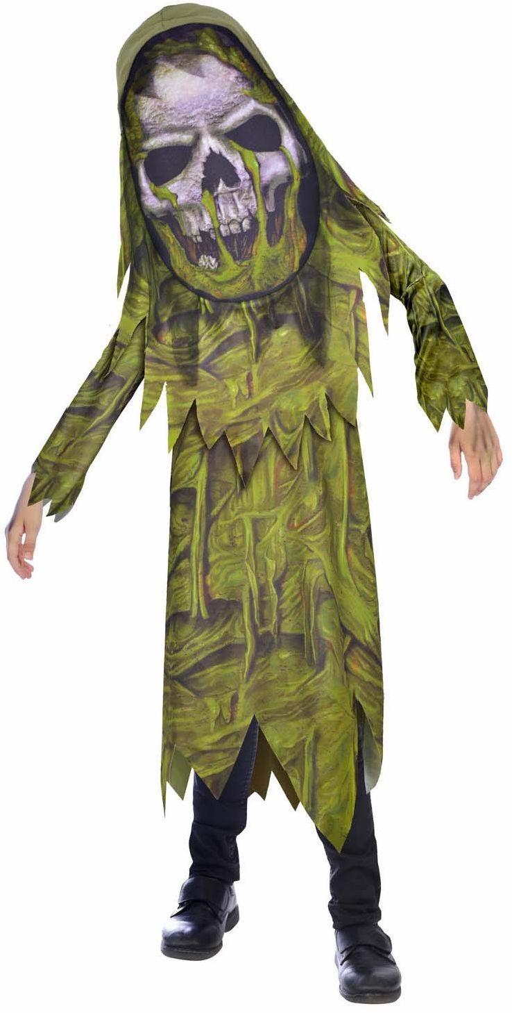 Amscan 9907132 - kostium dziecięcy zombie, robe, kaptur z maską na twarz, brzuch błotny, kostium horroru, impreza tematyczna, karnawał, Halloween