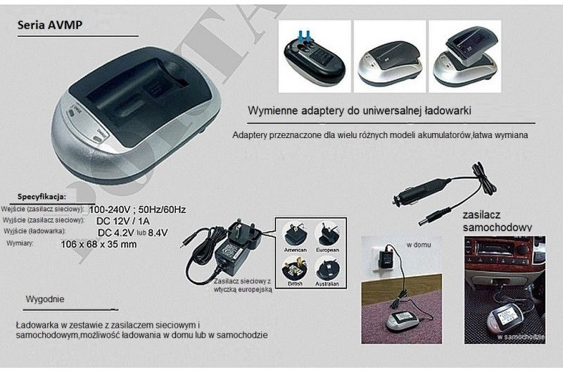 Samsung SLB-1974 ładowarka AVMPXSE z wymiennym adapterem (gustaf)