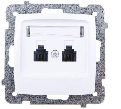 KARO Gniazdo telefoniczne podwójne RJ11 niezależne białe GPT-2SN/m/00