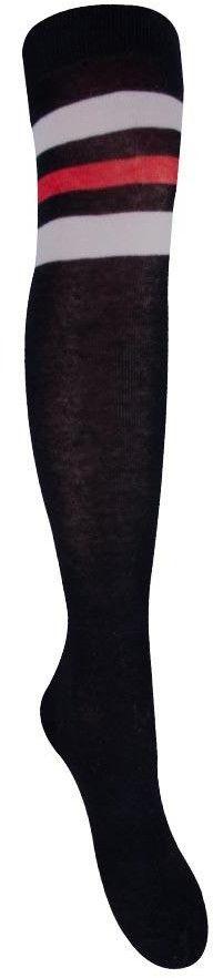 Skarpety podkolanówki czarne z czerwonym i białymi paskami