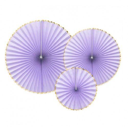 Rozety PasteLOVE jasno liliowe ze złotą obwódką