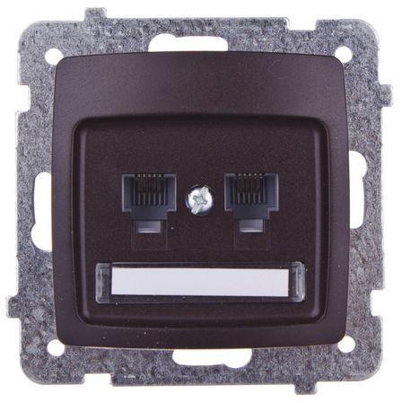 KARO Gniazdo telefoniczne podwójne RJ11 niezależne czekoladowy metalik GPT-2SN/m/40