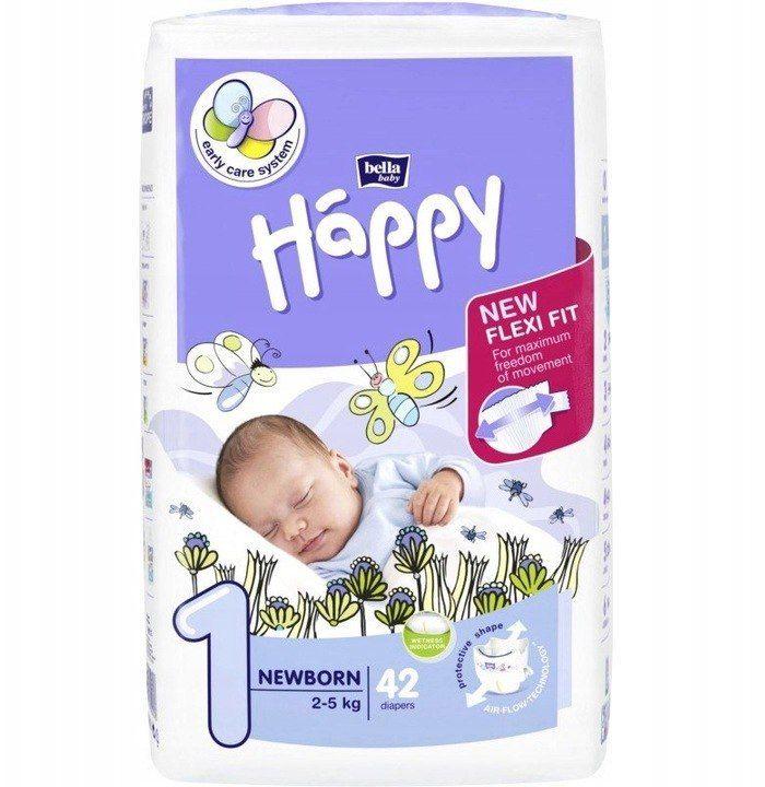 Bella Happy Rozmiar 1 Newborn, 42 pieluszki, 2-5 kg