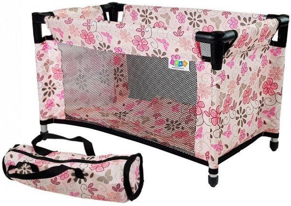 Łóżko dla Lalek Alice Różowe w Kwiaty