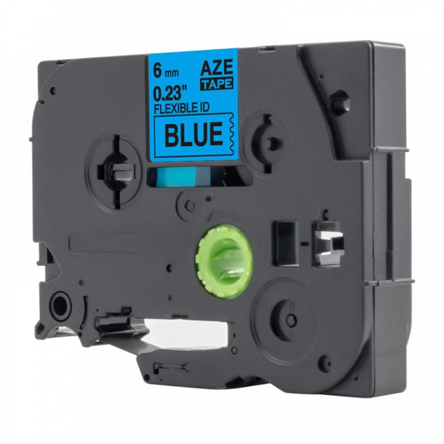 Taśma zamiennik Brother TZ-FX511 / TZe-FX511, 6mm x 8m, flexi, czarny druk / niebieski podkład