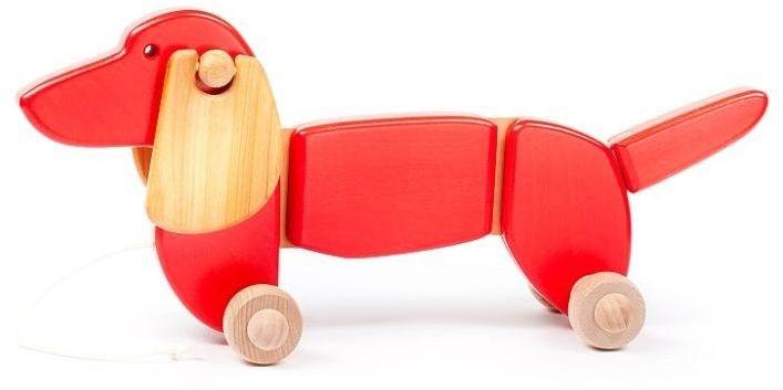 Czerwony jamnik, 21110-Bajo, zabawki na sznurku