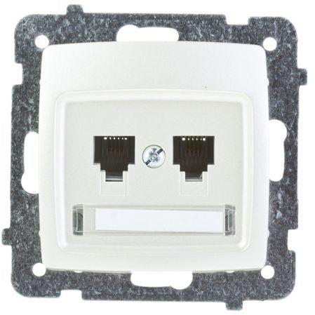 KARO Gniazdo telefoniczne podwójne RJ11 niezależne ecru perłowy GPT-2SN/m/42