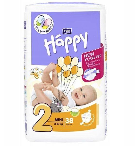 Bella Happy Rozmiar 2 Mini, 38 pieluszek, 3-6 kg