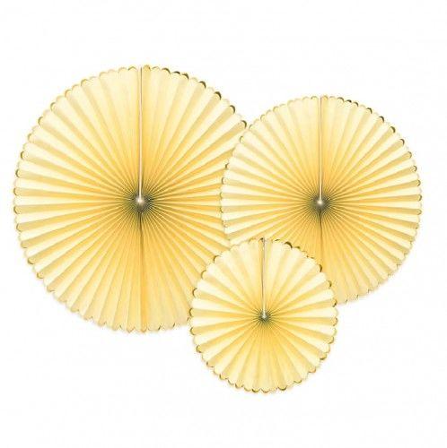Rozety PasteLOVE jasno żółte ze złotą obwódką