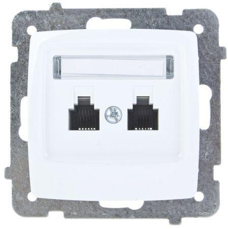KARO Gniazdo telefoniczne podwójne RJ11 równoległe białe GPT-2SR/m/00