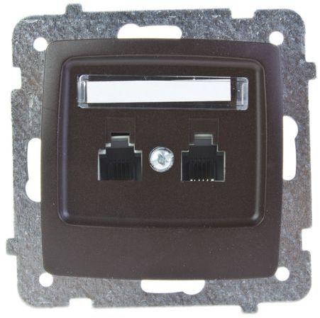 KARO Gniazdo telefoniczne podwójne RJ11 równoległe czekoladowy metalik GPT-2SR/m/40