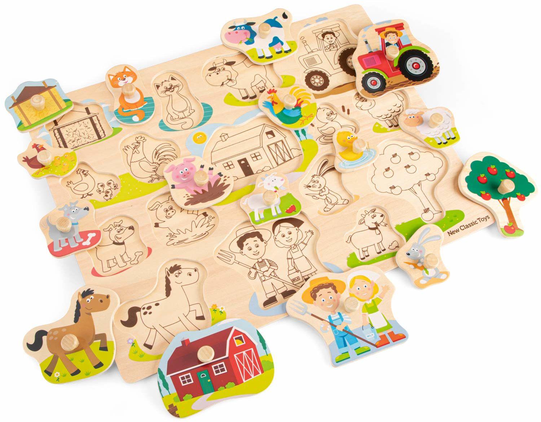 New Classic Toys 10440 Peg Puzzle Gospodarstwo Edukacyjne Drewniane zabawki dla 2-letniego chłopca i dziewczynki, wielokolorowe - 16 sztuk - 100% certyfikat FSC