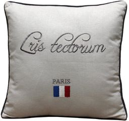 My Flair 23.12SF Louis poduszka, 40 x 40 x 14 cm z wypełnieniem, 40% bawełna 30% len 20% wiskoza 10% poliester, pranie ręczne, biała z napisem